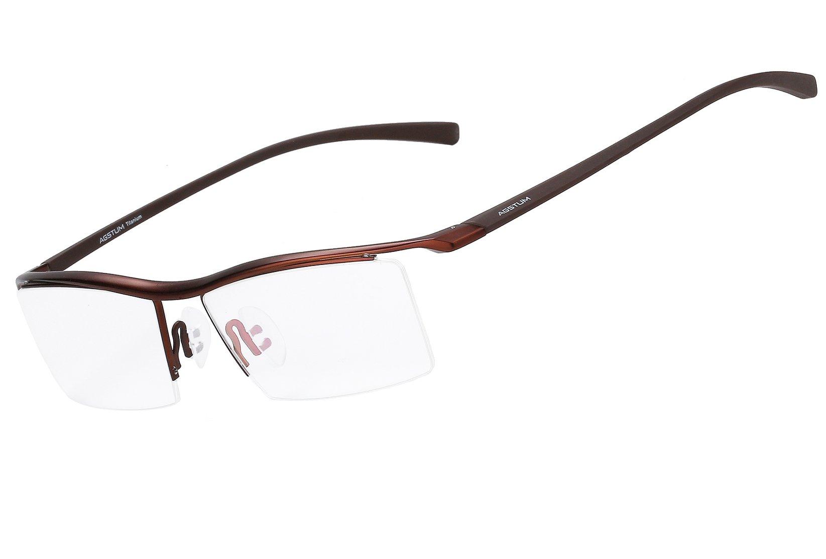 Agstum Pure Titanium Half Rimless Business Glasses Frame Optical Eyeglasses Clear Lens (Coffee)