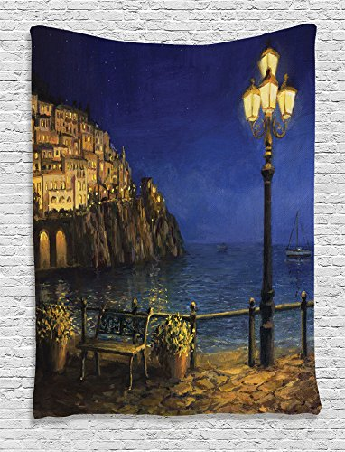 Ambesonne Lakehouse Decor Collection, Romantic Evening at the Coast of Amalfi in Italy Calm Waters City Lights Oil Painting, Bedroom Living Room Dorm Wall Hanging Tapestry, Navy Blue Beige