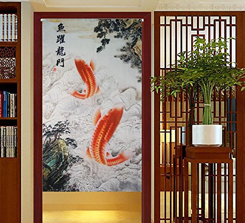 LifEast Traditional Chinese Style Double Leaping Fish Pattern Meaning of Success and Progress Door Curtain Japanese Noren Curtain Bedroom Curtain (White) by LifEast
