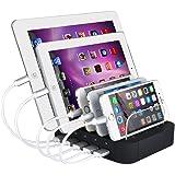 Evfun USB充電スタンド 収納充電 5ポート同時充電 充電ステーション 1A /2.4A iPhone iPod iPad Android スマホ/タブレット対応 (ブラック)