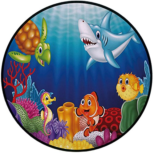 Printing Round Rug,Aquarium,Cartoon Tropical Fish and Happy Underwater World with Corals Biodiversty Theme Mat Non-Slip Soft Entrance Mat Door Floor Rug Area Rug for Chair Living Room,Multicolor ()