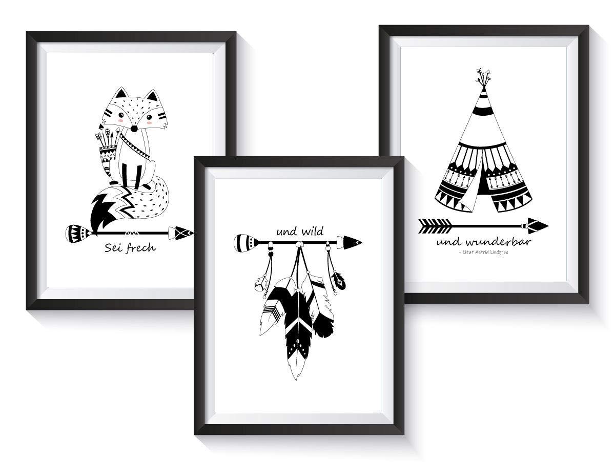 3er-Set Kinderzimmer Babyzimmer Poster Indianer Tiere | DIN A3 | ohne Bilderrahmen | Mädchen Junge | Kinderposter Kunstdruck | Schwarz/Weiss - Schwarz/Weiß