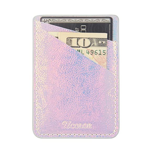 ucolor phone card holder iridescent pink pu leather wallet pocket credit card id case holder pouch - Pink Card Holder
