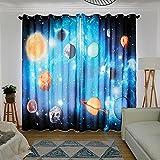 Wapel 3D 3D Planet, Star Planet, Universe Solar System, Theme Children'S Room, Bedroom, Ktv Box, Living Room Curtain 240X320CM