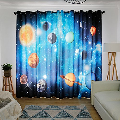 Wapel 3D 3D Planet, Star Planet, Universe Solar System, Theme Children'S Room, Bedroom, Ktv Box, Living Room Curtain 240X320CM by Waple