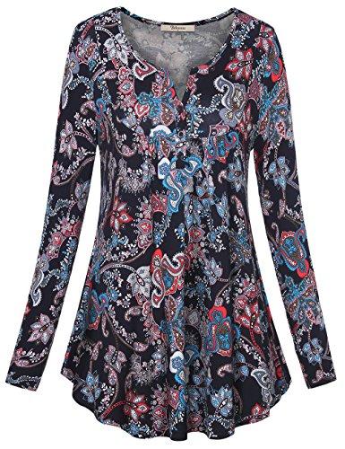 Petite V-neck Tunic (Bebonnie Petite Tunics, Women's Crewneck Button-up Ruched Long Sleeve Tunic Shirt Tops Multicolor Blue M)