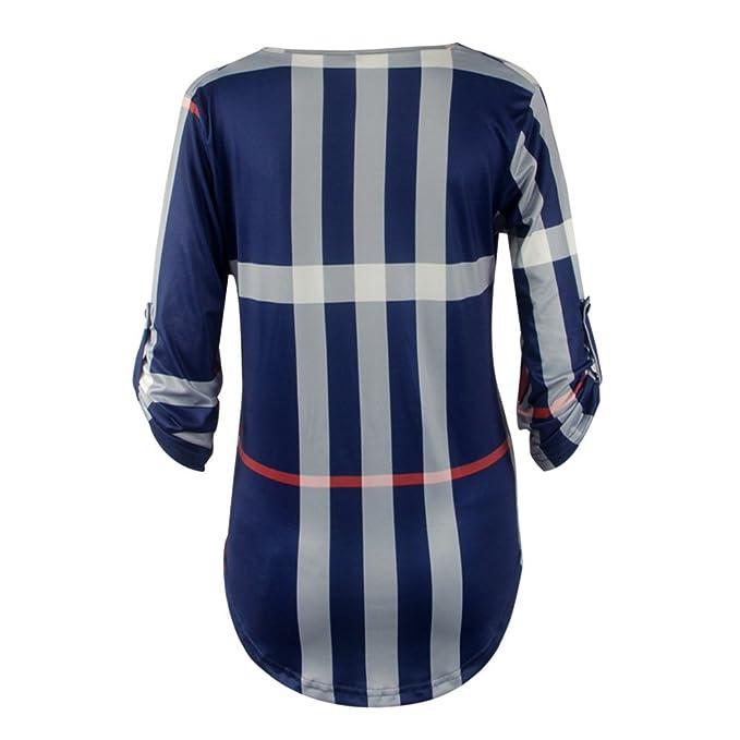 ... Tops A Cuadros Fiesta Fashionista Elegantes Blusones V Cuello Otoño Anchas Basicas Blusas Casual Bonita Marca Moda Juvenil: Amazon.es: Ropa y accesorios