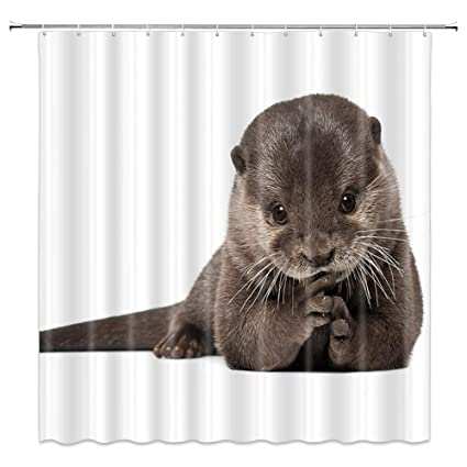 AMNYSF Smooth Coated Otter Decor White Shower Curtain Wildlife Cute Animal70x70 Inch Waterproof