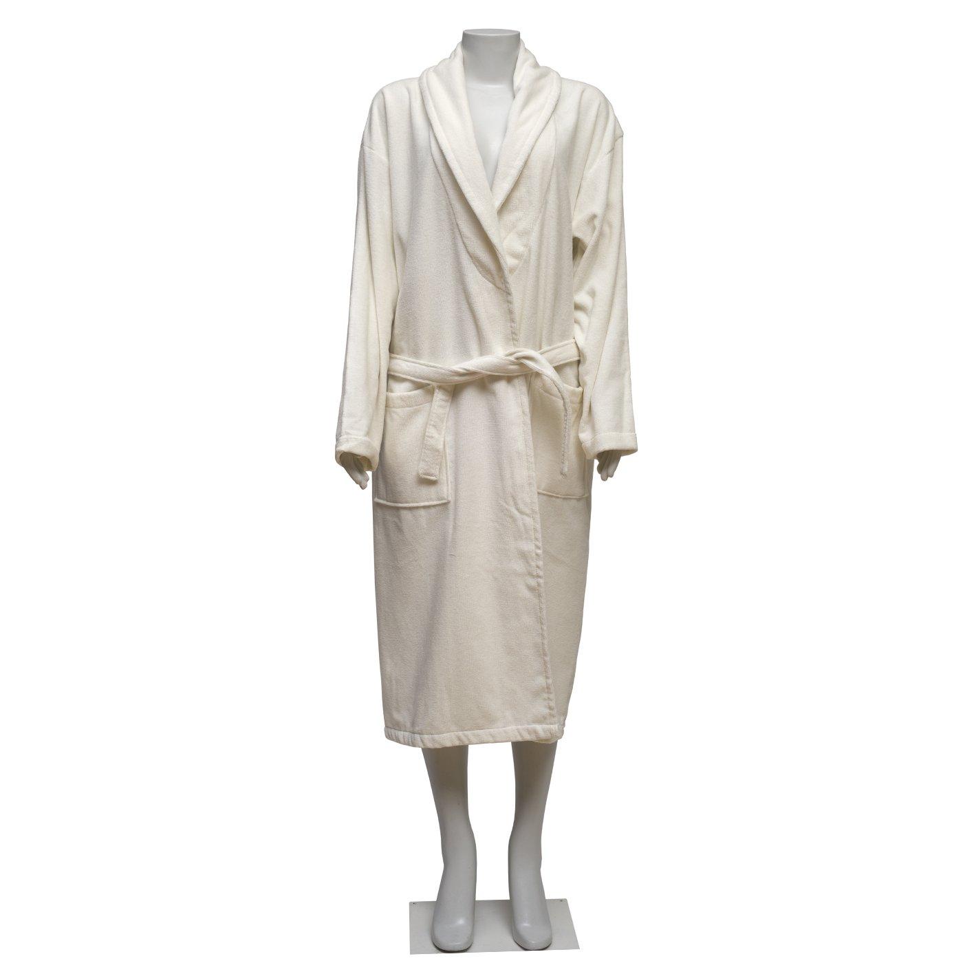 100% Turkish Cotton Velvet Extra Plush Bathrobe Set, Large Bath Towel, Hair Towel Unisex Terry Bathrobe Set - Moisture Wicking and Odor Resistant (Light Cream)