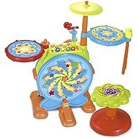 Eléctrico Gran tambor de juguete para niños con micrófono para cantar y una silla–Pedal de bombo y con baquetas (volumen ajustable) 666
