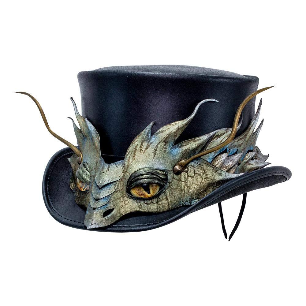 American Hat Makers El Dorado-Basilisk Band by Steampunk Hatter Leather Top Hat, Black Finished-Basilik Band - Large