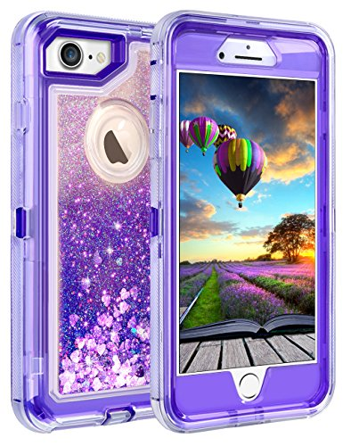 Coolden Case for iPhone 8 Case Protective Glitter Case for Women Girls Cute Floating Liquid 3D Quicksand Heavy Duty Hard Shell Shockproof TPU Case for 4.7 Inches Apple iPhone 6 6s 7 8, Purple
