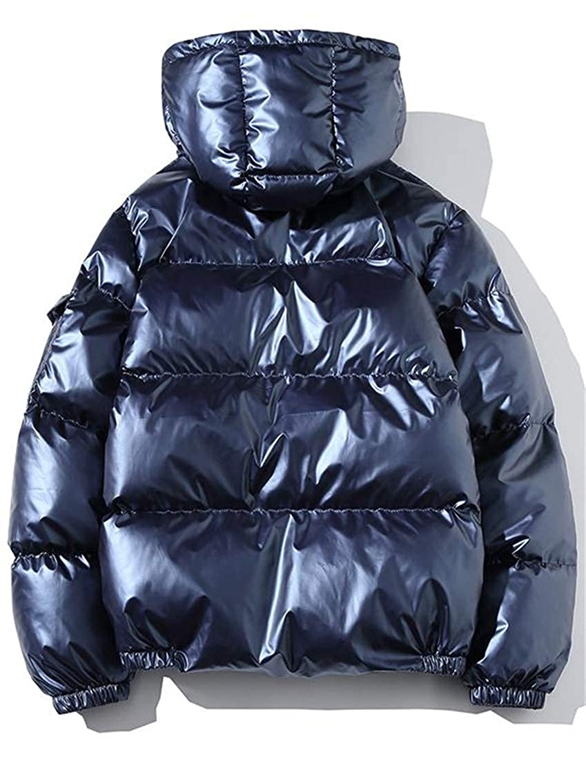 Wofupowga Mens Winter Down Jacket Packable Plus Size Puffer Hooded Parka Coat