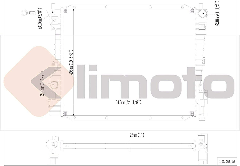 Klimoto Brand New Radiator fits Ford Mustang 2005-2013 3.7L 3.9L 4.0L V6 4.6L 5.0L V8 FO3010270 4R3Z8005CA 4R338005CE-SS Q2789 CU2789 RAD2789 DPI2789