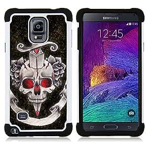 BullDog Case - FOR/Samsung Galaxy Note 4 SM-N910 N910 / - / DAGGER BLACK RED ROSE DEVIL SKULL /- H??brido Heavy Duty caja del tel??fono protector din??mico - silicona suave