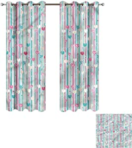 """Cash Hoover Window Blackout Curtains Baby,Romantic Heart Floral,Complete Darkness, Noise Reducing Curtain 50"""" Wx84 L,2 Panels"""