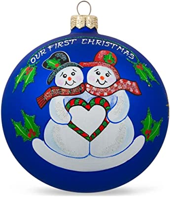 "BestPysanky 4"" Snowman Couple and Heart Glass Ball Our First Christmas Ornament"