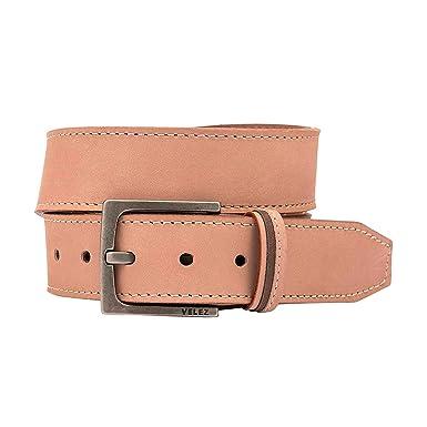 de10b09f500d Velez Genuine Full Top Grain Men Real Leather Belt Correa Cuero de Caballero  Beige 32