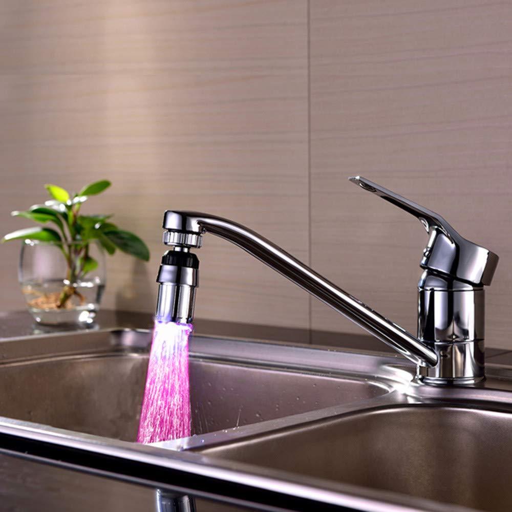 Iaywayii Grifo del Sensor de Temperatura del Agua grifos de Cocina de la luz Tap 7 Colores cambian autom/áticamente Fregadero Corriente de Agua