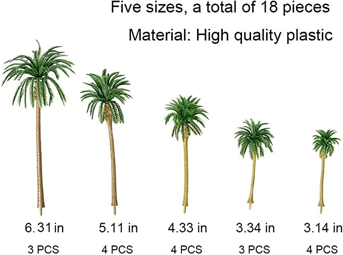 """LOT OF 3 PLASTIC TOY PLAY SET PALM TREES ACCESSORIES 4"""" TALL"""