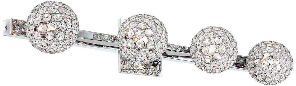 Tiara Crystal Sphere 28'' Wide 4-Light Chrome Bath Light