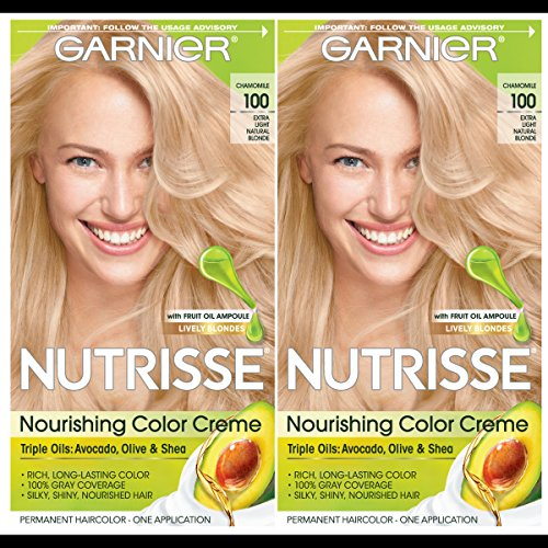 Garnier Hair Color Nutrisse Nourishing Creme, 100 Extra-Light Natural Blonde (Chamomile), 2 Count