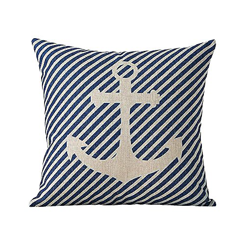 ME COO Mediterranean Sea Sailing Anchor Compass Style Cotton Blend Pillow Case Printed Home Decorative Cushion Comfortable Back Throw Covers 18 Inches x 18 Inches 1 Pcs (ME-BZX-38)