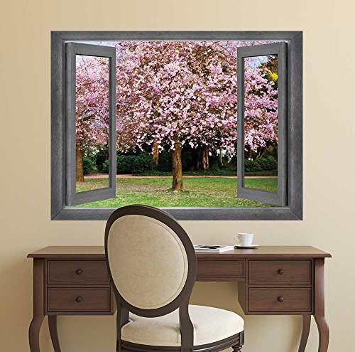 Open Window Creative Wall Decor Center Focus onto a Gorgeous Cherry Blossom Tree Wall Mural
