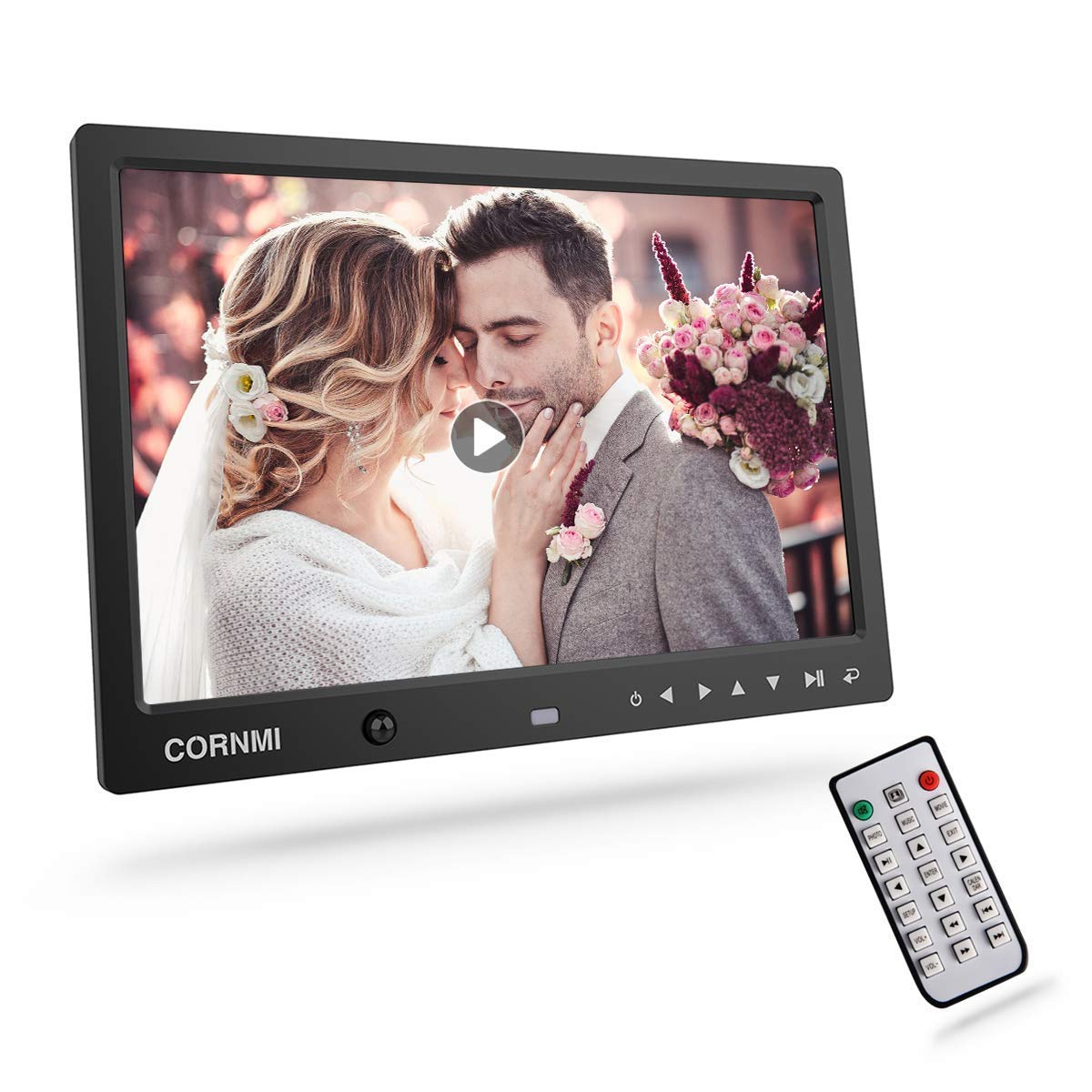 Digital Photo Frame, Cornmi Digital Picture Frame Music HD Body Motion Sensor Auto Rotation Alarm Calendar Video Player with Remote Control for Wedding Commemoration Newoer
