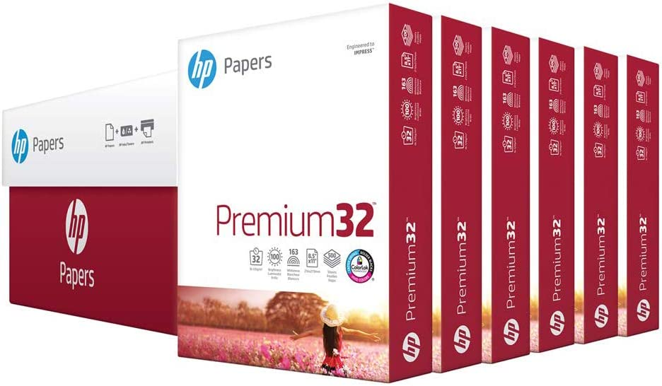 HP Printer Paper 8.5x11 Premium 32 lb 6 Pack Case 1800 Sheets 100 Bright Made in USA FSC Certified Copy Paper HP Compatible 113100C