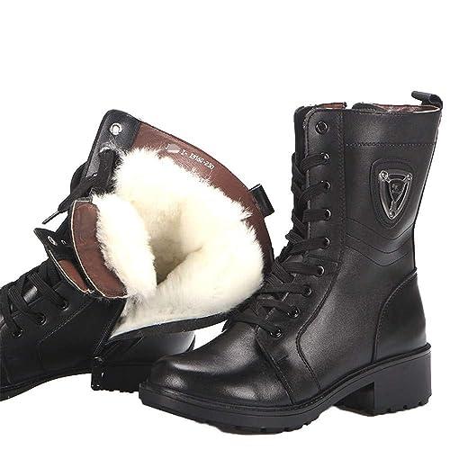 1ee77bad06490 Shirloy Botas para Mujer Botas Martin Cuero Zapatos Engrosamiento Piel Botas  para la Nieve Lana Botas para el Temperamento Las señoras  Amazon.es   Zapatos y ...