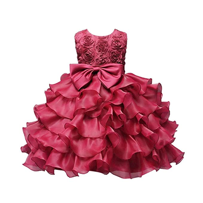 Amazon.com: Moonker Baby Girls Rose Bowknot Flower Princess ...