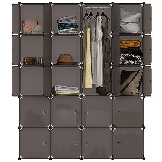 langria armoire penderie 20 cubes avec portes meuble sparateur de pice tagre modulable rangement vtements chaussures - Meuble Separateur De Piece