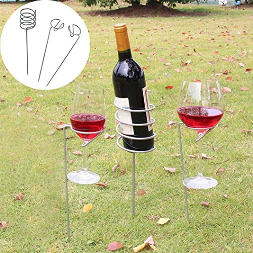 Price comparison product image Nacome Camping Outdoor Wne Rack Glass Bottle Holder Stake Set For Garden Picnic BBQ (Silver)