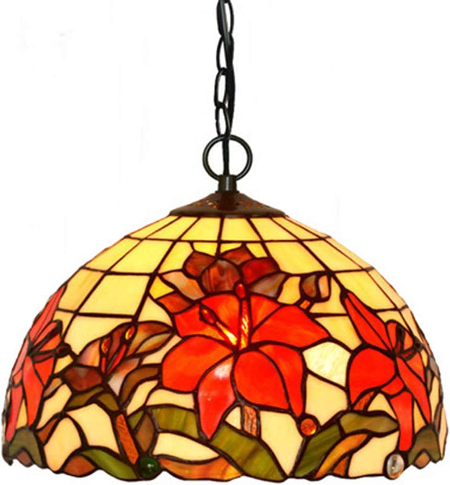 Art glass lily flower chandeliers lamp handmade coloured glass lampshade