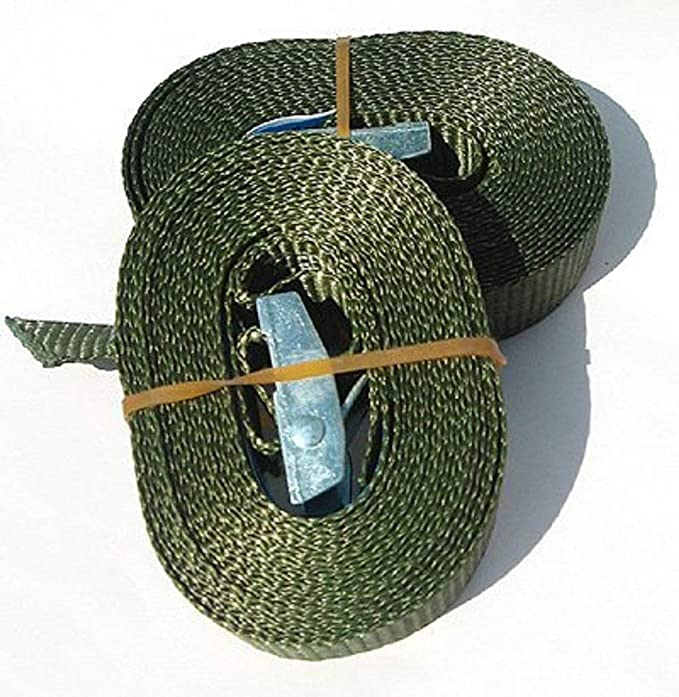 Timtina 2 Spanngurt Mit Klemmschloss 2 Stück Je 3m Oliv 180 Kg Auto