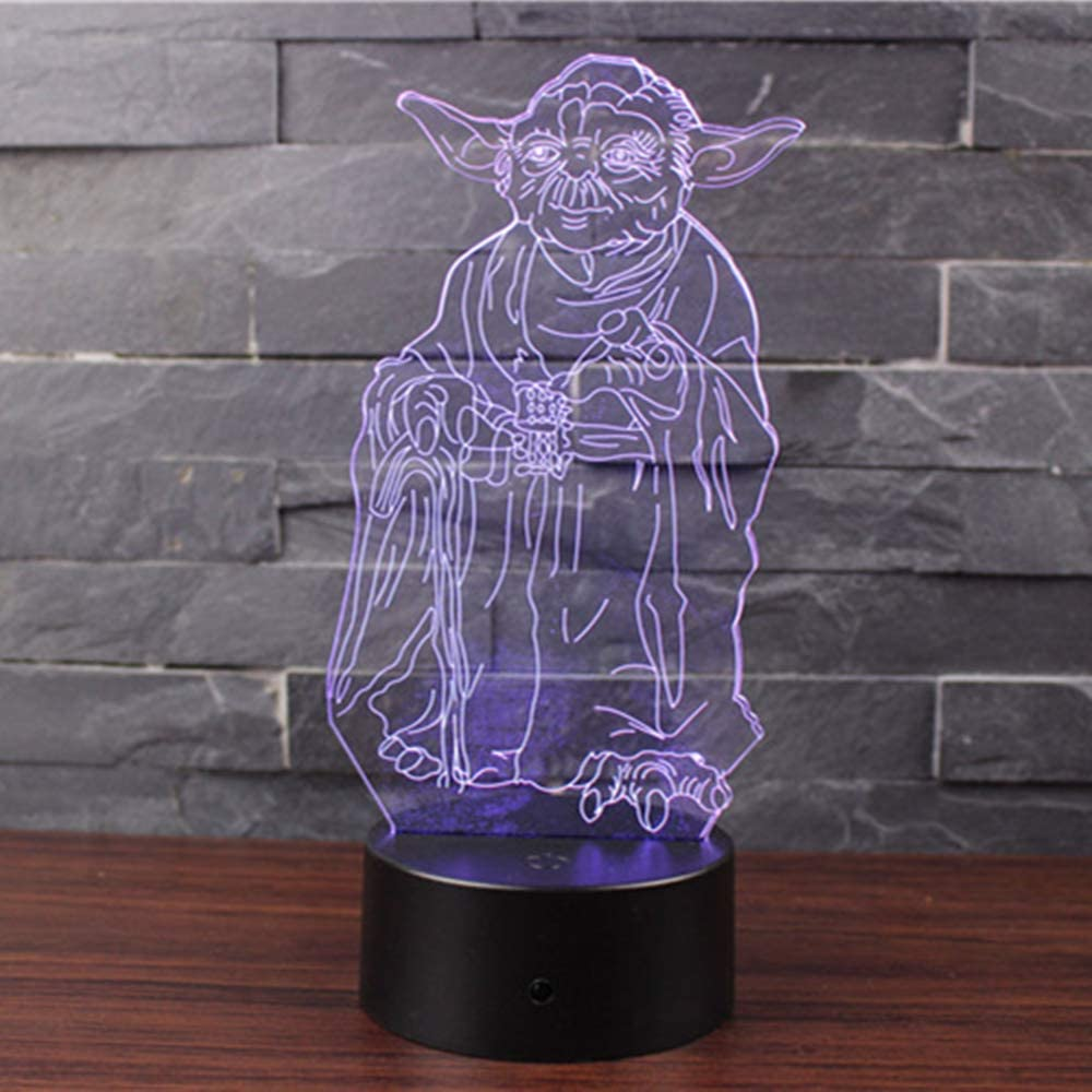 Doremy 3D Illusion LED Night Light Table Desk Lamp 7 Colors Gradual Changing Touch with USB Cable for Home Decoration or Children's Gifts (Master Yoda)