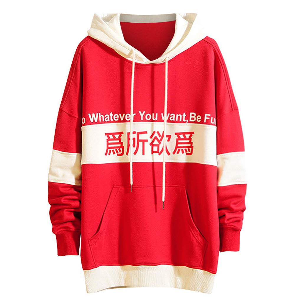 Sinzelimin Men's Sweatshirt Hipster Casual Long Sleeve Drawstring Hooded Patchwork Pullover Hoodies Red