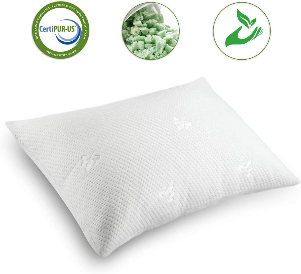 Cooling Bed Pillows for Sleeping Shredded Memory Foam Pillow Queen(20x30) with Washable Pillow Cover,Great Support and Fluffy