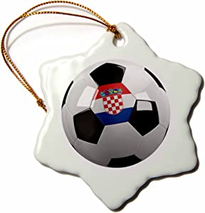 3dRose ORN_157018_1 Soccer Ball with The National Flag of Croatia on It Croatian Snowflake Ornament, Porcelain, 3-Inch