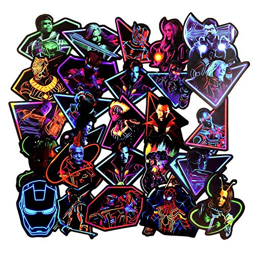 Neon Super Hero Stickers for Teen,Adult,Kids,Marvel Sticker for Water Bottle Skateboard Motorcycle Luggage Waterproof Vinyl Decals for Stickers Decal-50pcs
