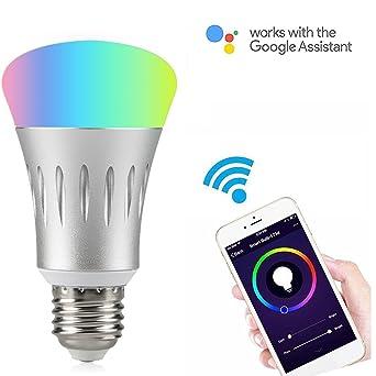WiFi Smart luz LED Bombilla funciona con Alexa no requiere Hub, E27 Smart Wifi bombilla RGB ...