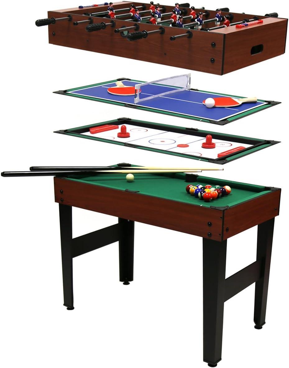 Charles Bentley Mesa multijuegos 4 en 1 - Billar, Hockey de Mesa, futbolín y Ping-Pong: Amazon.es: Juguetes y juegos