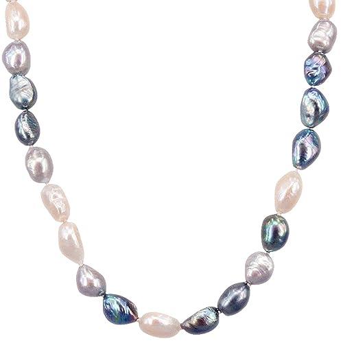 Nico di collana di perle barocche bianco nero grigio Reali perline perle  coltivate collana con perle pke100  Amazon.it  Gioielli 57206bcdc6ac