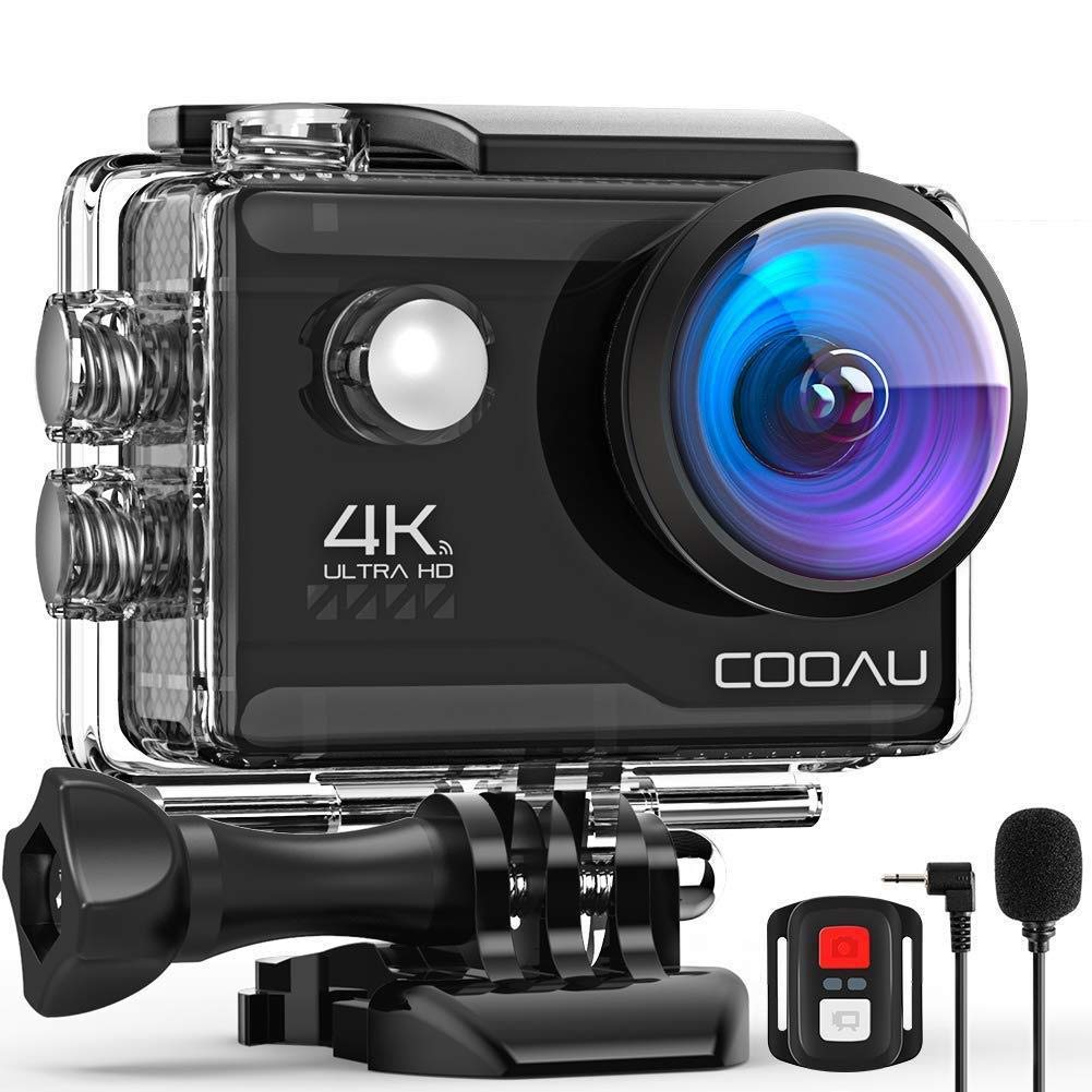 COOAU 4K 20MP Wi-Fi Action Camera External Microphone Remote Control EIS Stabilization Underwater 40M Waterproof Sport Camera with 2X1200mAh Batteries