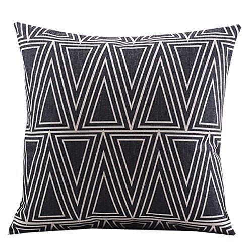 CoolDream Cotton Linen Decorative Pillowcase Throw Pillow Cushion Cover Square 18 Retro Black Solid Triangle