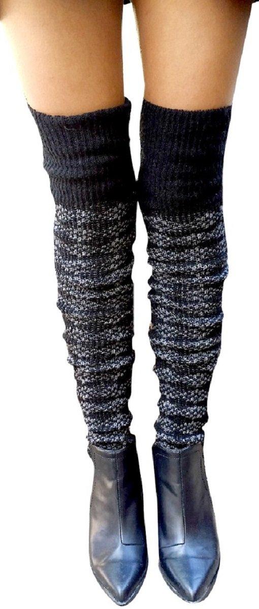 AM Landen Wool Blend Knee Highs,Thigh High,Cuffs Knit Crochet Leg Warmer(Thigh High Black) by AM Landen (Image #4)