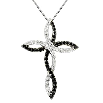 d108637b8c3 Image Unavailable. Image not available for. Color  1 2CTTW Black   White Diamond  Cross Pendant in Sterling Silver