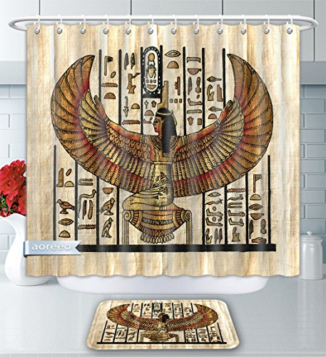 Aoreeo Bathroom Two-Piece Set Egyptian Decor Collection Ancient Religion Historical Art Egyptian Parchment Texture Background Image Ivory O Shower Curtain Bath Rug Set, 79