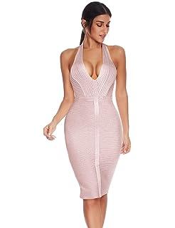 Meilun Women Club Strap Deep V Bodycon Bandage Party Midi Dress